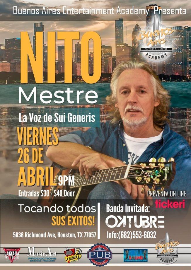 Flyer for Nito Mestre en Houston Texas