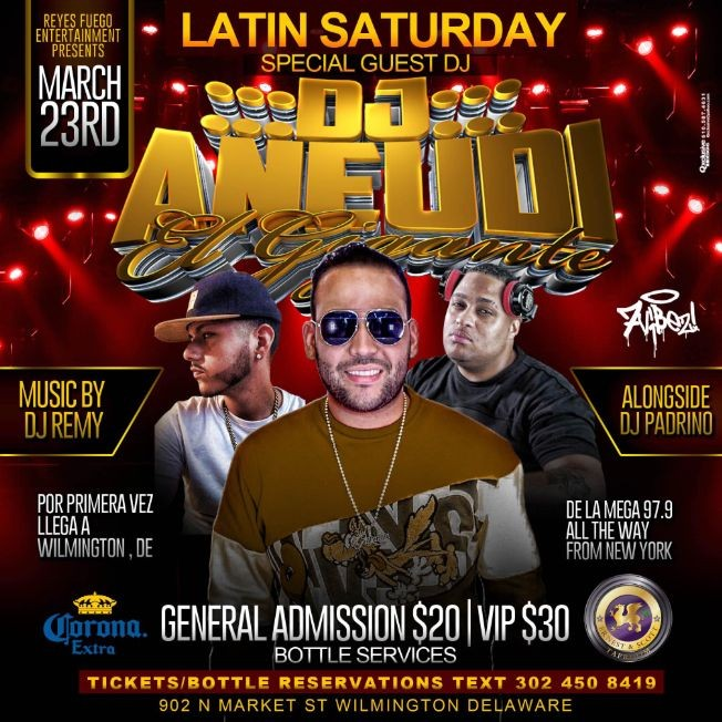 "Flyer for Latin Saturday - DJ ANEUDI ""EL GIGANTE"""