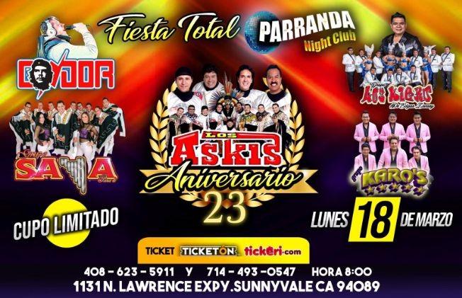 Flyer for FIESTA TOTAL con Askis y mas en Sunnyvale