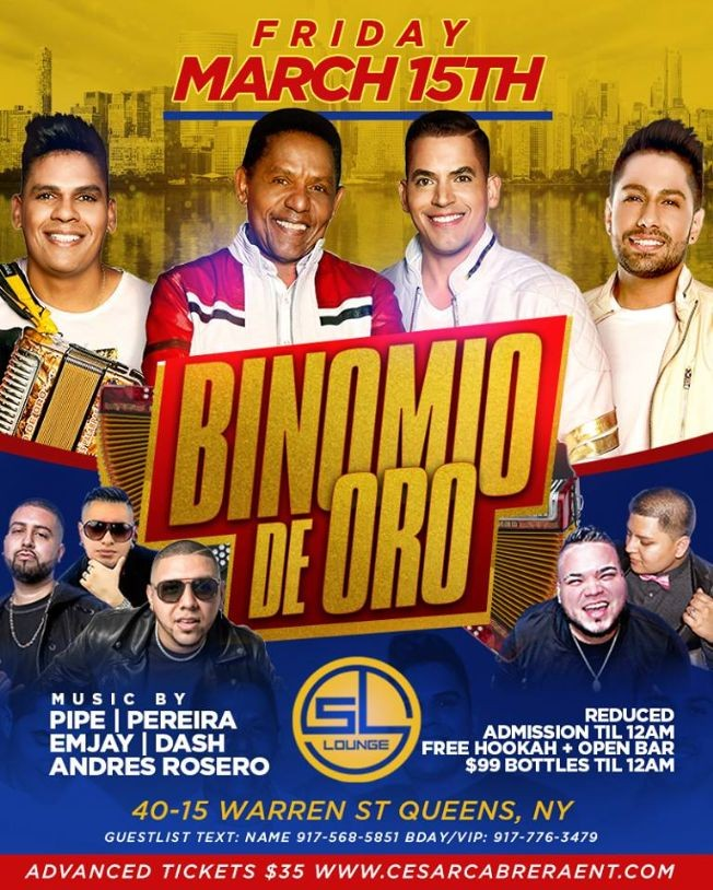 Flyer for Binomio De Oro Live At SL Lounge