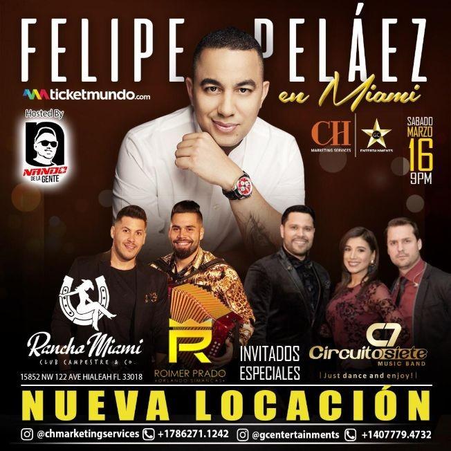 Flyer for Felipe Pelaez en Miami,FL