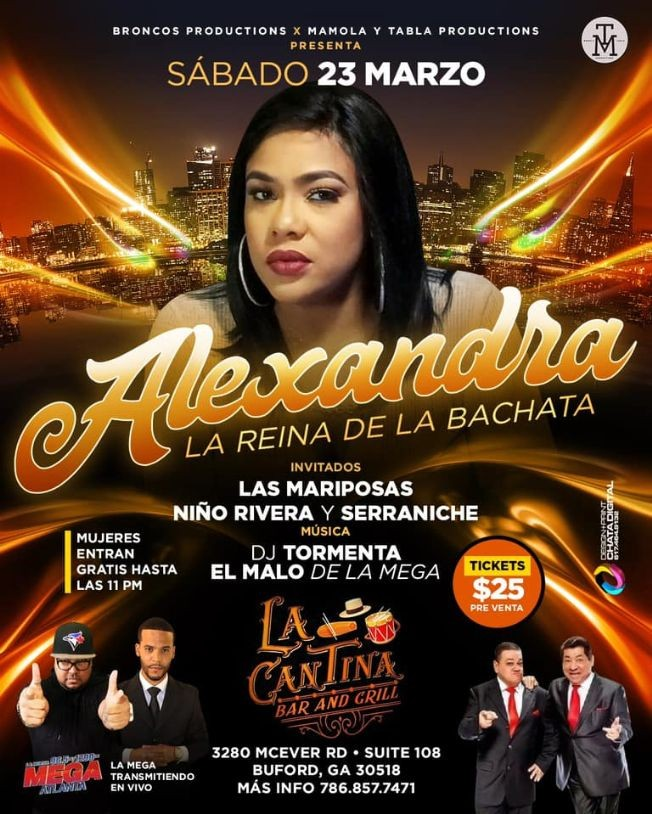 Flyer for ALEXANDRA LA REINA DE LA BACHATA ,ATLANTA