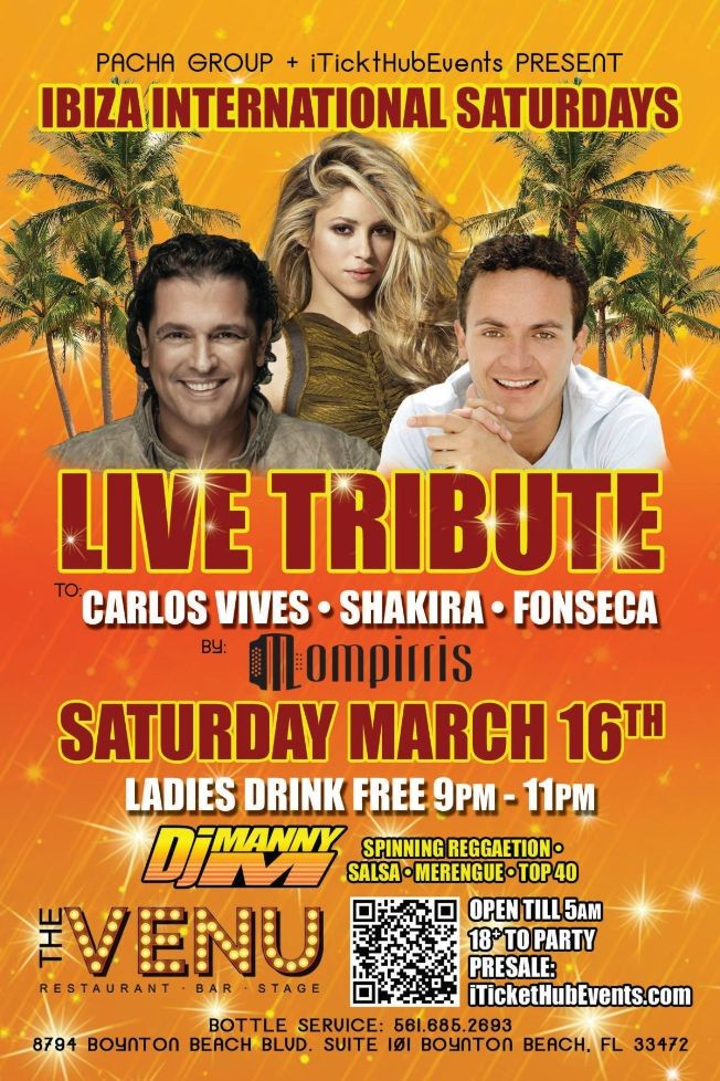 Flyer for Tributo a Carlos Vives - Shakira - Fonseca Saturday March 16th @ THE VENU