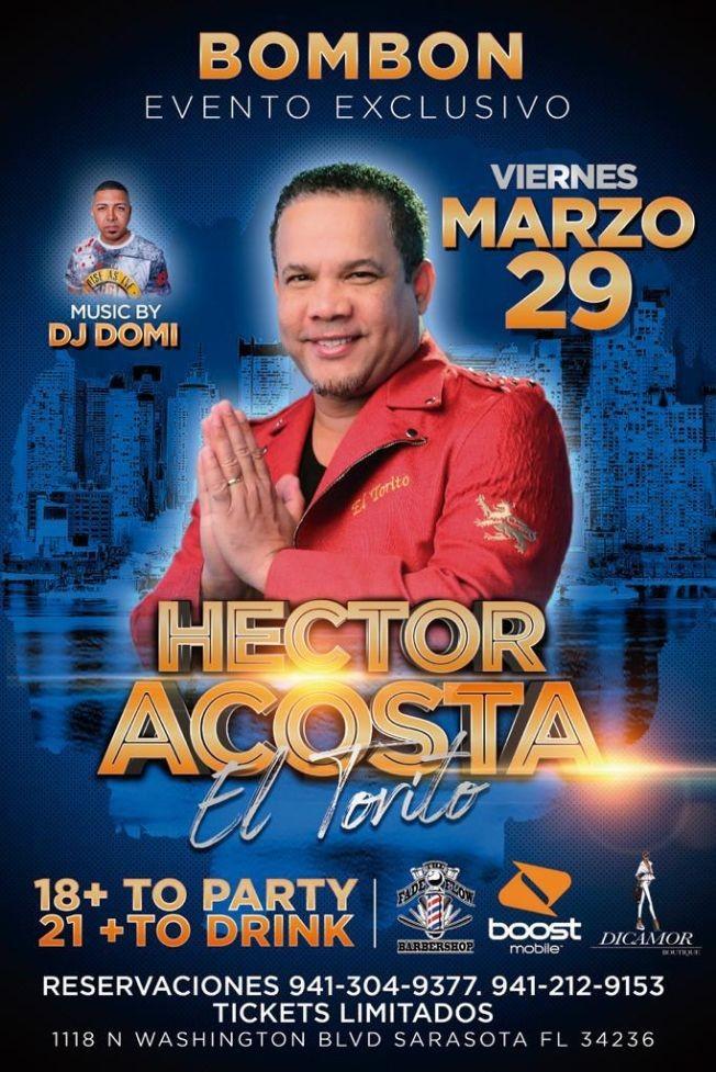 Flyer for Hector Acosta El Torito en Sarasota,FL
