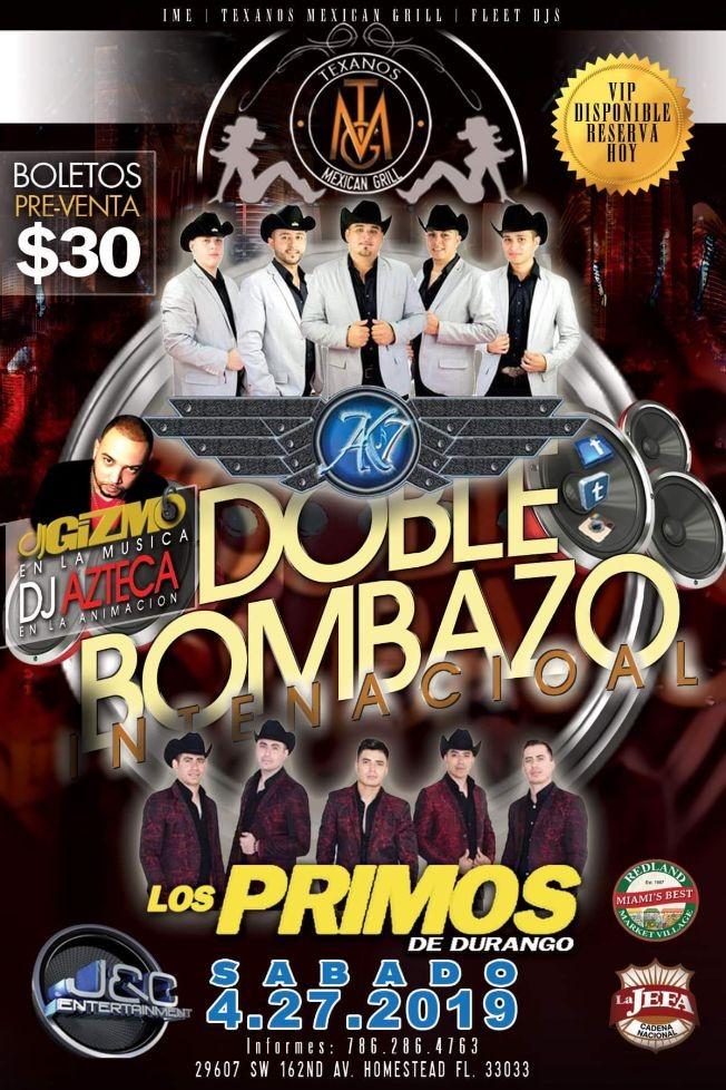 Flyer for Ak7 Y Los Primos De Durango En Vivo En ''El Texanos  Mexican Grill''