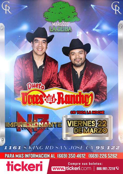 Flyer for Dueto Voces del Rancho La Impesionante Norteño Banda en Concierto en San Jose,CA