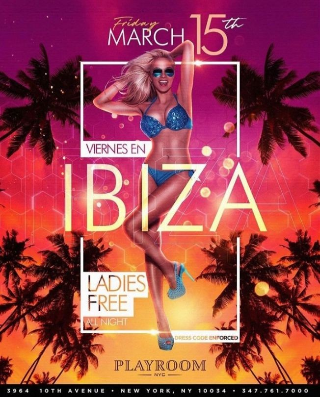 Flyer for Grand Opening Of Viernes En Ibiza At Playroom NYC