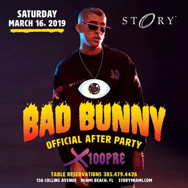 Flyer for Official X100 Pre After Party Bad Bunny Live At Story Nightclub