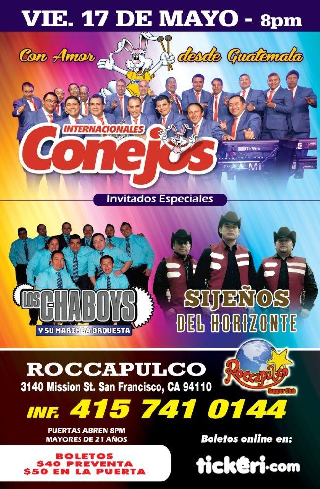 Flyer for En Concierto: Internacionales Conejos,  Los Chaboys & Sijenos del Horizonte en San Francisco, CA