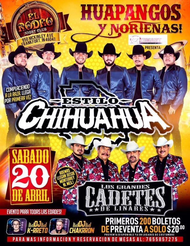 Flyer for Estilo Chihuahua & Los Grandes Cadetes De Linares en Frankfort,IN