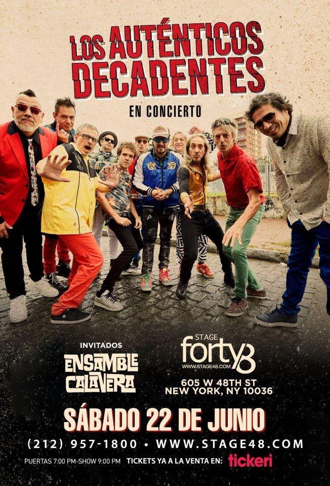 Flyer for LOS AUTENTICOS DECADENTES EN NEW YORK