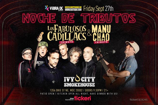 Flyer for Tributo a Los Fabulosos Cadillacs & Manu Chao
