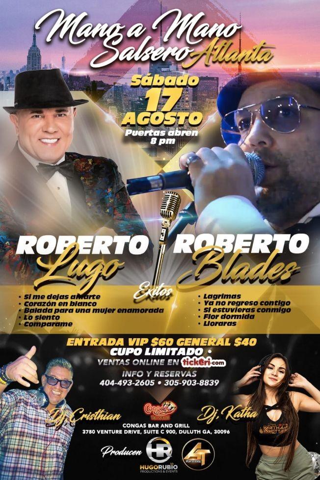 Flyer for Mano a Mano Salsero con Roberto Lugo y Roberto Blades en Atlanta