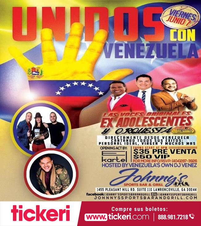"""Flyer for """"Las Voces Originales"""" Los Adolescentes y Orquesta en Concierto en Lawrenceville,GA. Unidos Con Venezuela"""