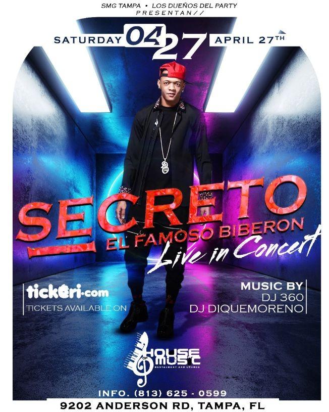 "Flyer for Secreto ""El famoso Biberon"" directo desde RD live in concert."