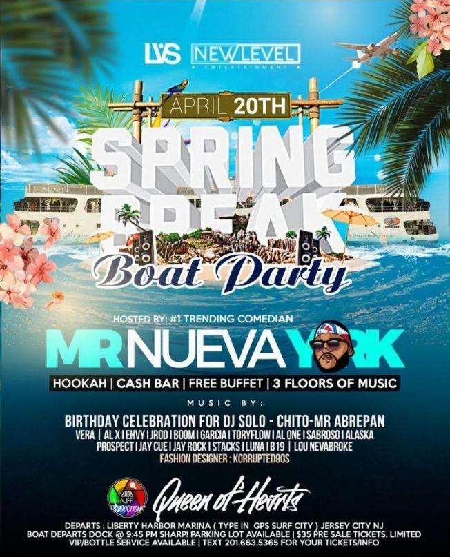 Flyer for Spring Break Boat Cruise At Liberty Harbor Marina