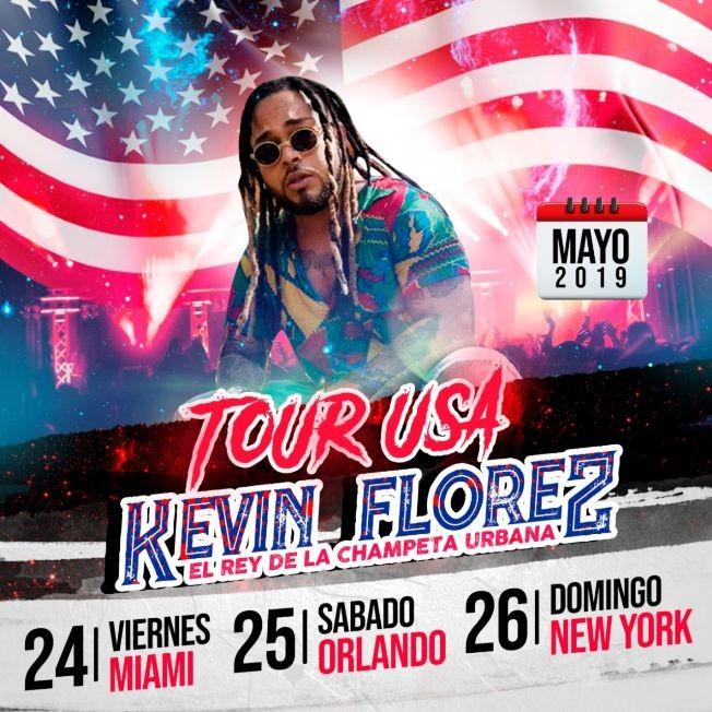 Flyer for Tour Usa Kevin Florez El Rey de La Champeta Urbana en Miami,FL