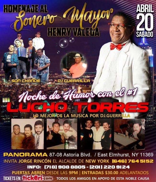 Flyer for Noche de humor Lucho Torres
