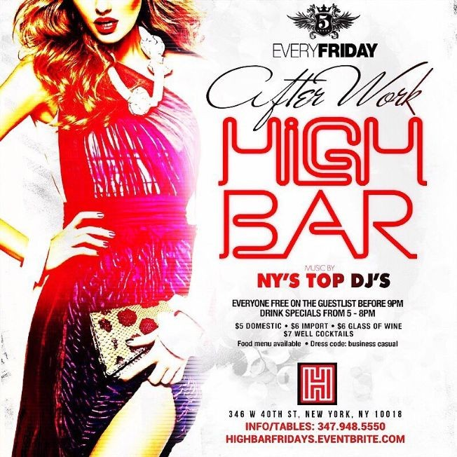 Flyer for Happy Hour AfterWork Fridays at High Bar NYC