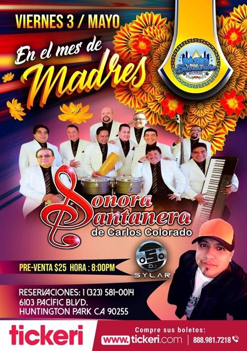 Flyer for Sonora Santanera de Carlos colorado en Concierto en Huntington Park,CA