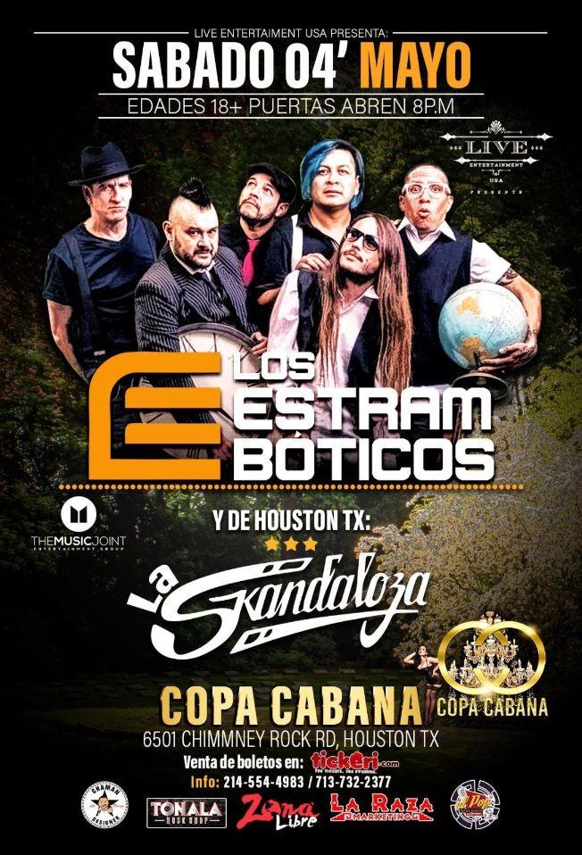 Flyer for Los Estramboticos & Mas en Houston,TX
