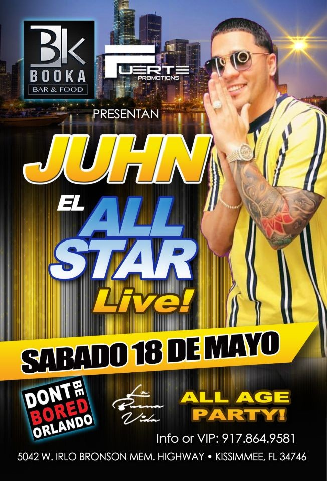 Flyer for Juhn el all star en booka