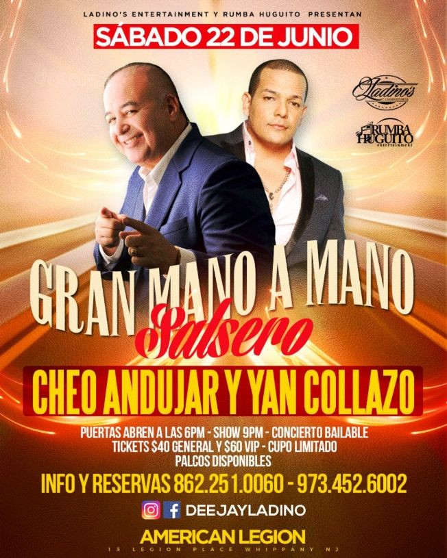 Flyer for Cheo Andujar & Yan Collazo