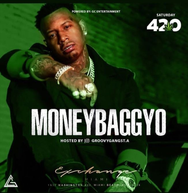 Flyer for Spring Break 4/20 Edition Money Bagg Yo Live At Exchange Miami