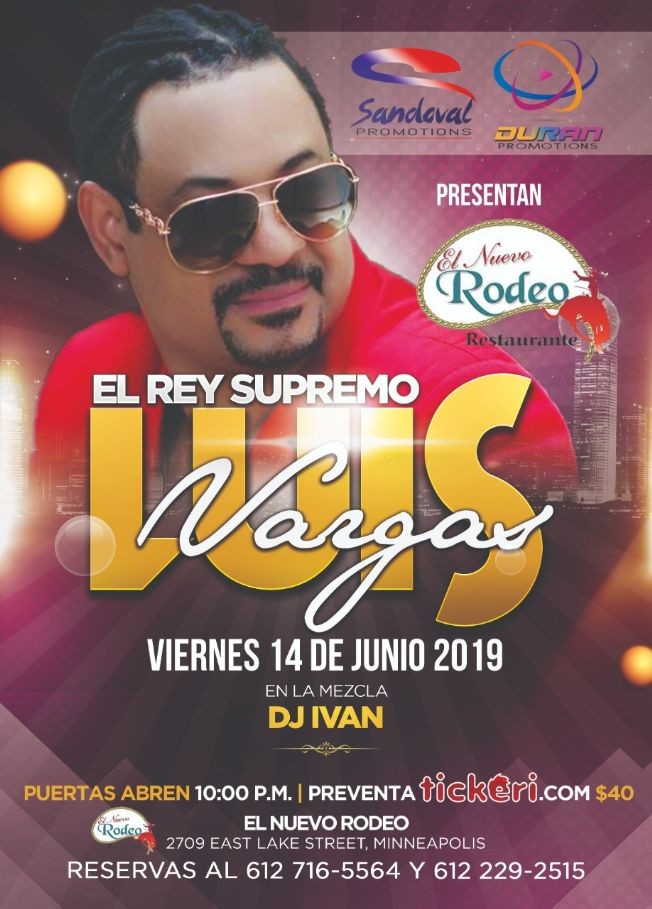 Flyer for Luis Vargas el Rey Supremo en Vivo
