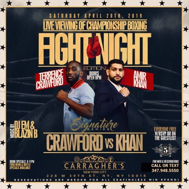 Flyer for Saturday Fight Night Viewing Party