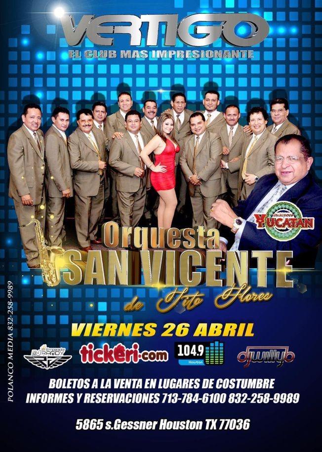 Flyer for Orquesta San Vicente en Houston,TX