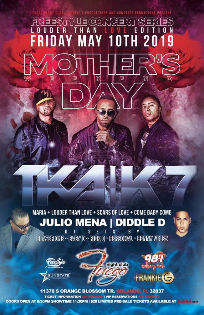 """Flyer for Freestyle Concert Series - """"Louder Than Love"""" Mother's Day Weekend Edition"""