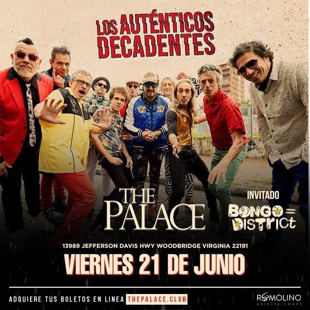 Flyer for LOS AUTENTICOS DECADENTES en Woodbridge