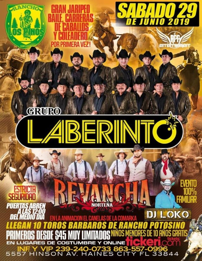 Flyer for LABERINTO/REVANCHA-- CARRERAS DE CABALLOS Y MAS.RANCHO LOS PINOS