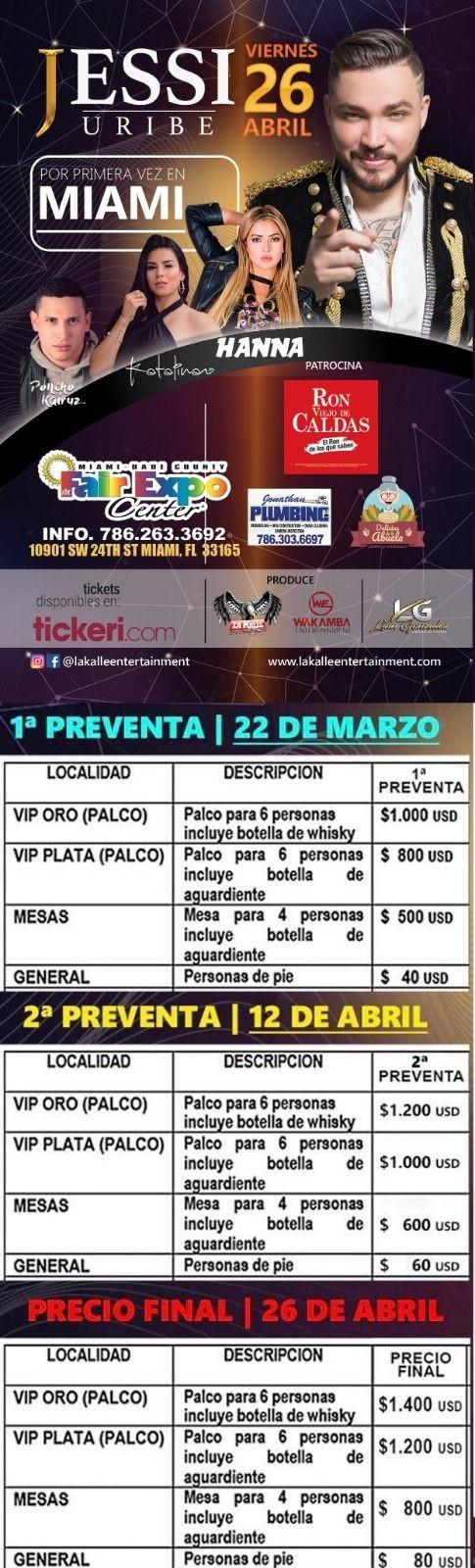 Flyer for Jessi Uribe en Concierto en Miami,FL