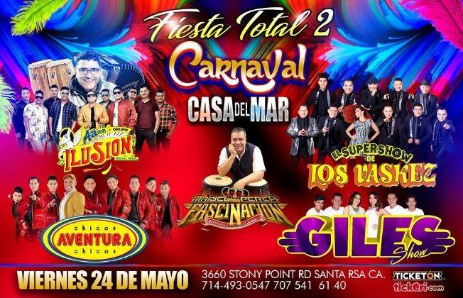 Flyer for FIESTA TOTAL 2/CARNAVAL EN SANTA ROSA