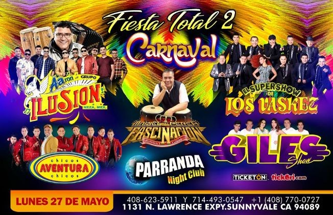 Flyer for FIESTA TOTAL 2/CARNAVAL EN SUNNYVALE