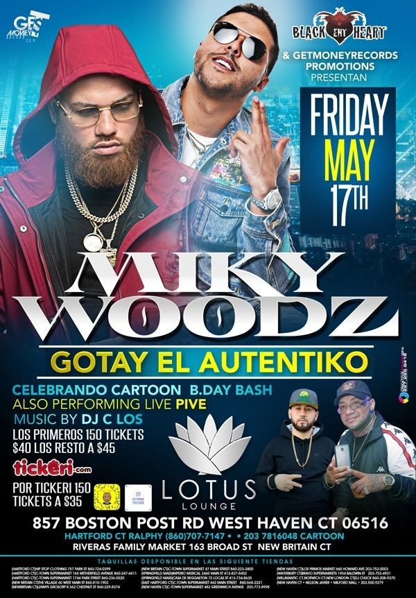 Flyer for Miky Woodz & Gotay El Autentiko en West Haven,CT