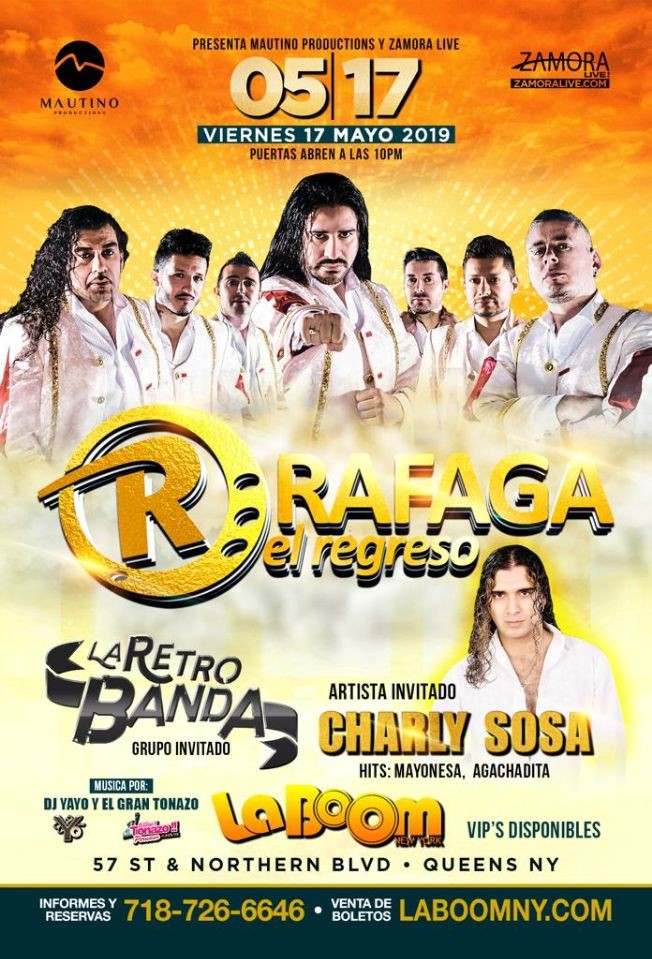 Flyer for EL Regreso de Rafaga  Junto a Charly Sosa