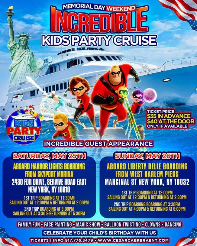 Flyer for Incredible Kids Party Cruise (11:30am-2:00pm)