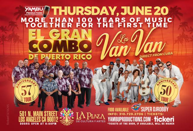 Flyer for El Gran Combo de Puerto Rico & Los Van Van de Cuba (TOGETHER FOR THE FIRST TIME IN U.S. HISTORY)