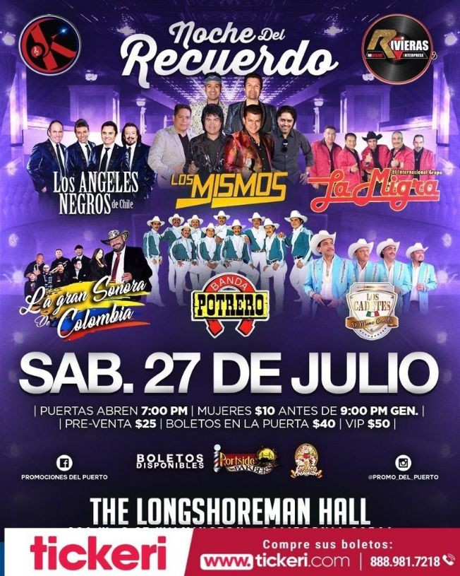 Flyer for Los Angeles Negros de Chile,Los Mismos,La Gran Sonora y Mucho Mas en Concierto en Los Angeles,CA