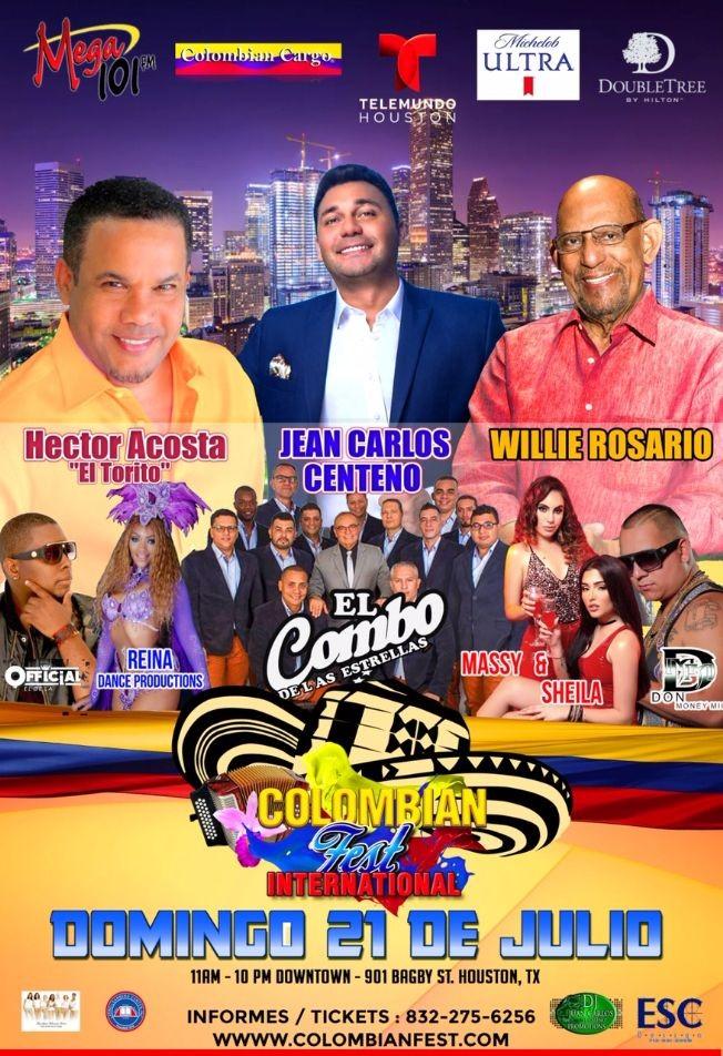 Flyer for Colombian Fest Houston 2019 con Willie Rosario, Jean Carlos Centeno, Hector Acosta, El Combo de las Estrellas y mas! Festival Colombiano