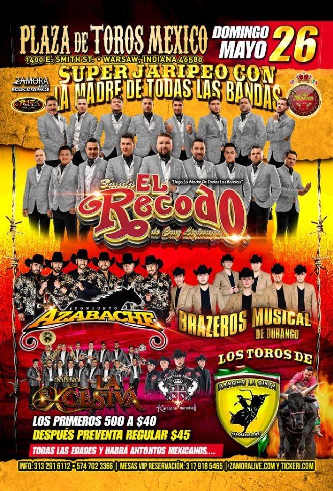 """Flyer for Súper Jaripeo Con La Madre De Todas Las Bandas """"BANDA EL RECODO"""""""