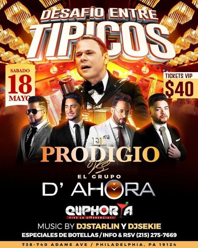 Flyer for EL Prodigio vs El Grupo D´ Ahora en Concierto en Philadelphia,PA