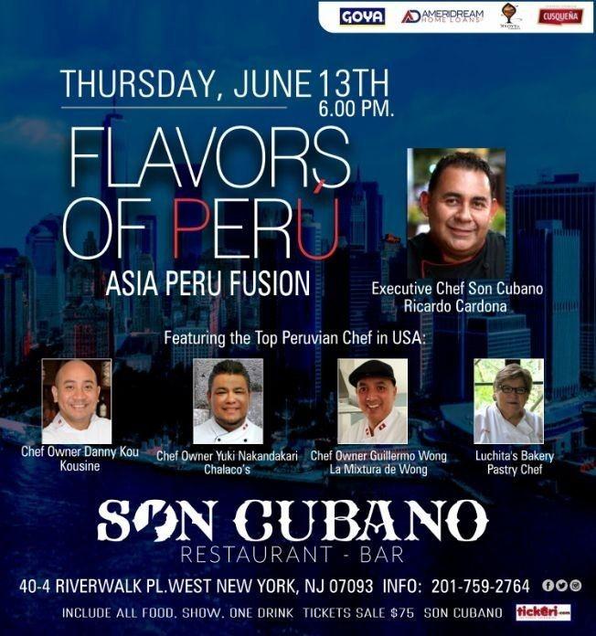 Flyer for Flavors Of Perú,Fusion Asia Peru con los Mejores Chef del Peru en West New York,NJ