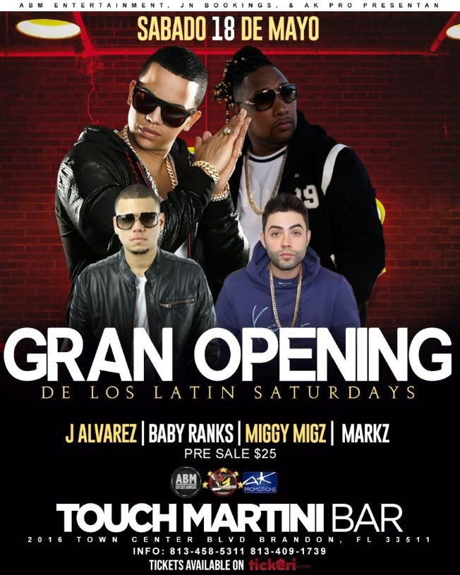 Flyer for J ALVAREZ - BABY RANKS - MARKZ - MIGGY MIGZ @ TOUCH MARTINI BAR & NIGHTCLUB