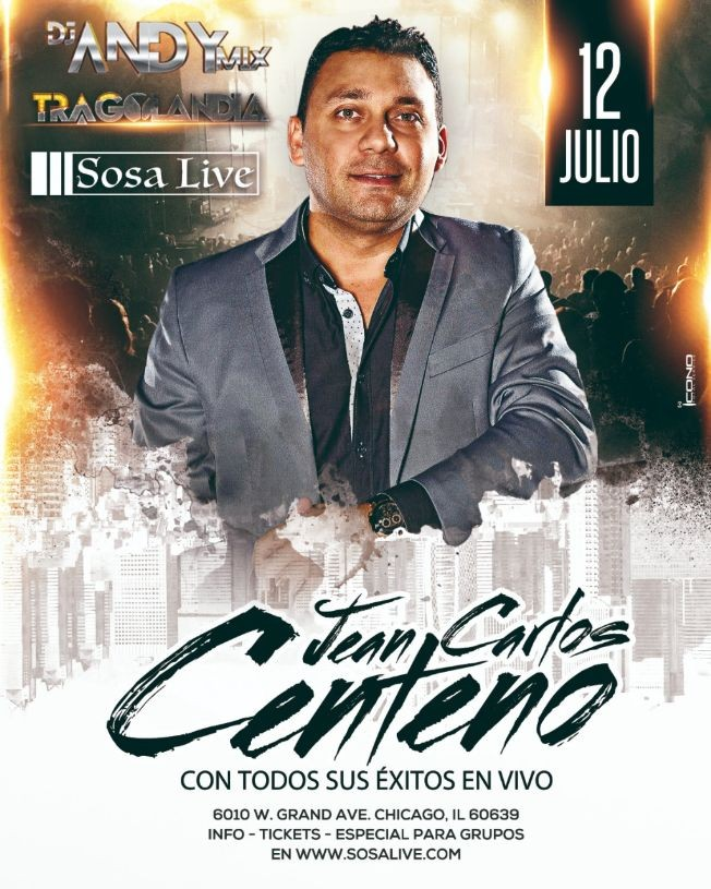 Flyer for Jean Carlos Centeno Concierto de Pre-Independencia Chicago, IL