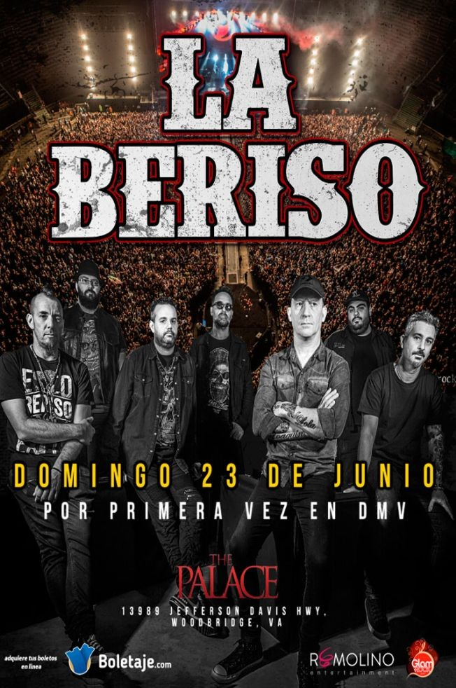 Flyer for LA BERISO Live in concert!! at The Palace.  $25 $25 $25 for limited time!! Dont Miss Out!!!!