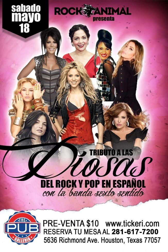 Flyer for Tributo a Las Diosas del Rock y Pop en Español